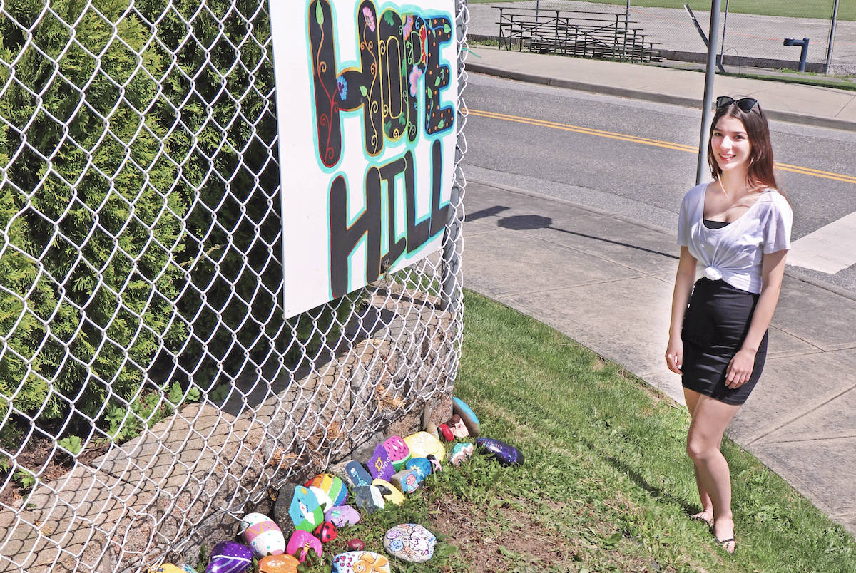 Kailey Randle created Hope Hill as a place to bring joy to locals who have painted and placed a rock there, or others who pass by the display at 270nd Street and 32nd Avenue. (Sarah Grochowski photo)