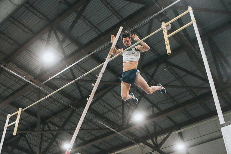 TWU athlete David Boyd won gold in the pole vault in the second and final day of the Canada West Championships Saturday at the Saskatoon Fieldhouse in February. (TWU)