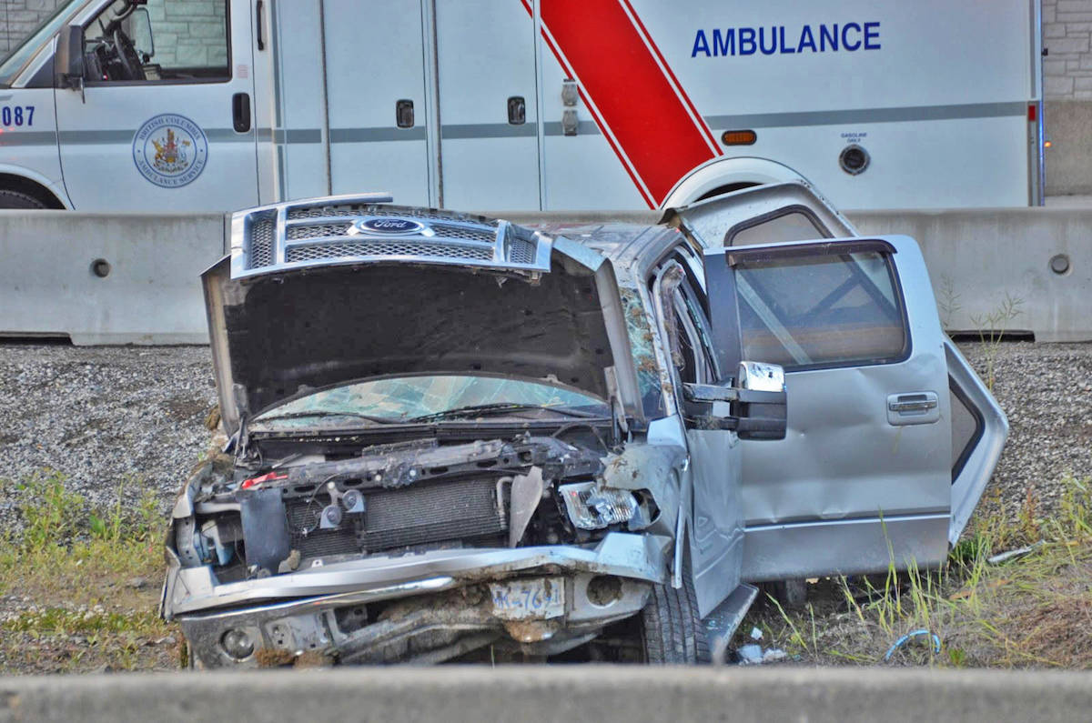 A 32-year-old Surrey man was taken into custody after crashing a stolen truck into the centre media on Highway 1 in Langley. (Curtis Kreklau photo)
