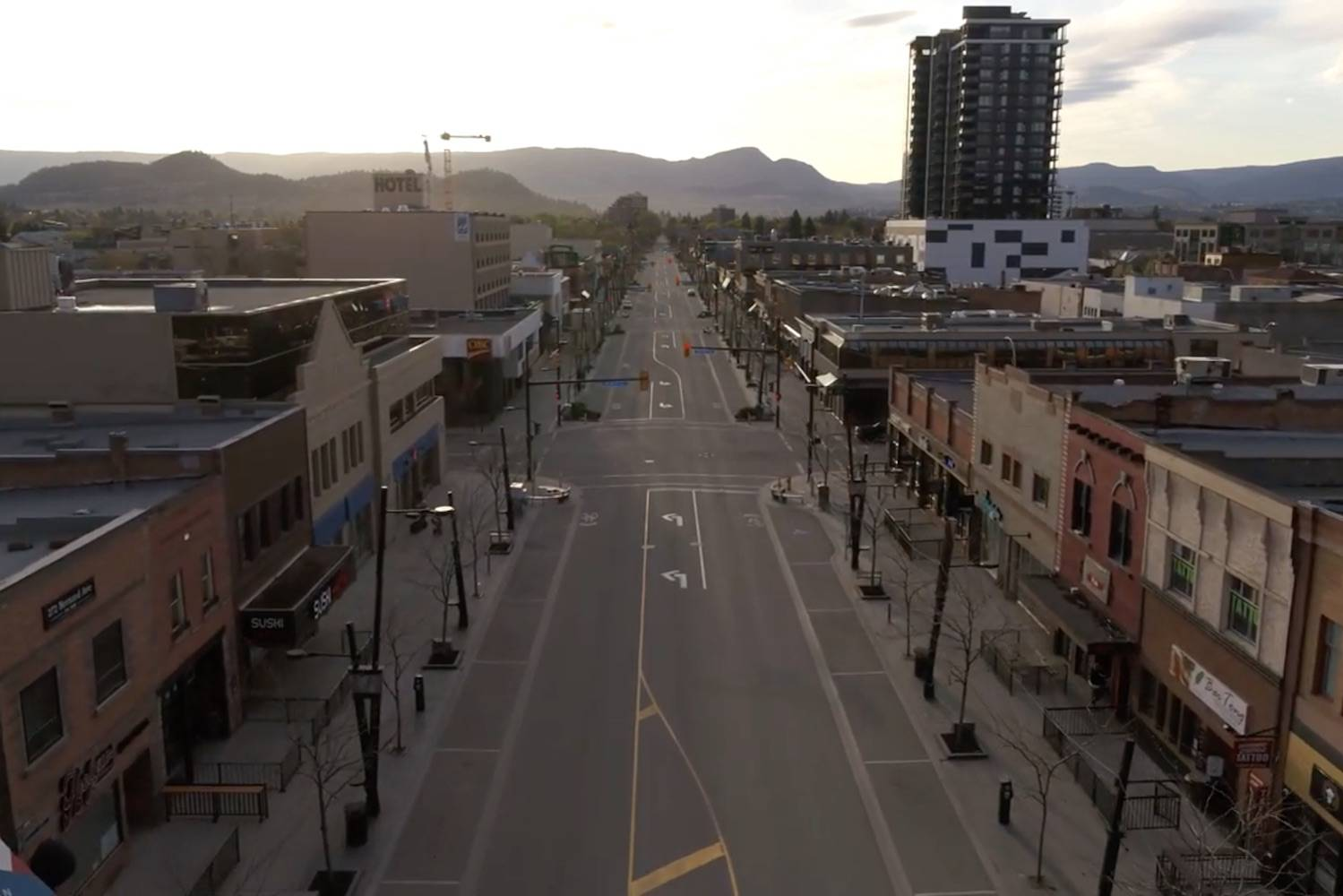 A look down Kelowna's usually-busy Bernard Avenue in Shawn Talbot's video 'Lockdown: An Aerial Time Capsule For Kelowna'. (Shawn Talbot photo)