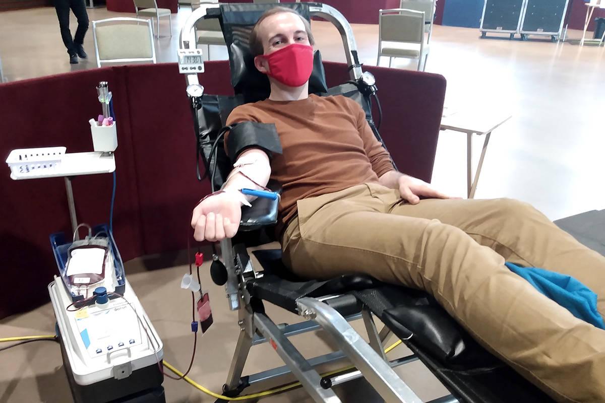 Langley Advance Times reporter Ryan Uytdewilligen gave blood on Tuesday. (Ryan Uytdewilligen/Langley Advance Times)
