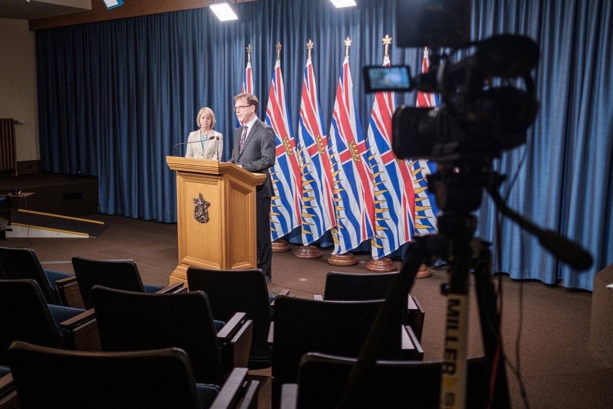 B.C. Health Minister Adrian Dix and provincial health officer Dr. Bonnie Henry give a daily update on COVID-19 cases at the B.C. legislature, May 7, 2020. (B.C. government)