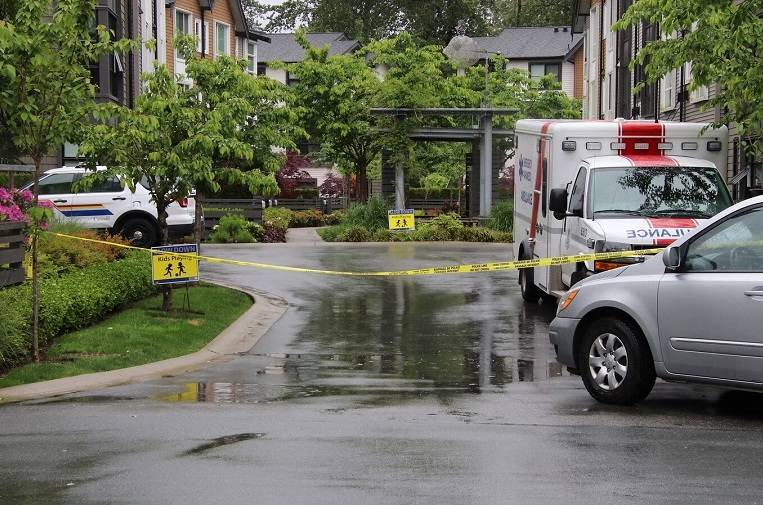 RCMP were on scene in Port Coquitlam on Saturday, May 18, 2020, after a baby was found abandoned. (Shane MacKichan/Special to Black Press Media)