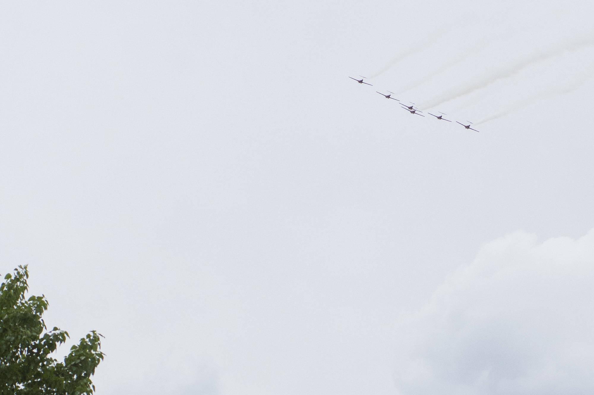 The Snowbirds fly over Salmon Arm on Saturday, May 16. (Jim Elliot/Salmon Arm Observer)