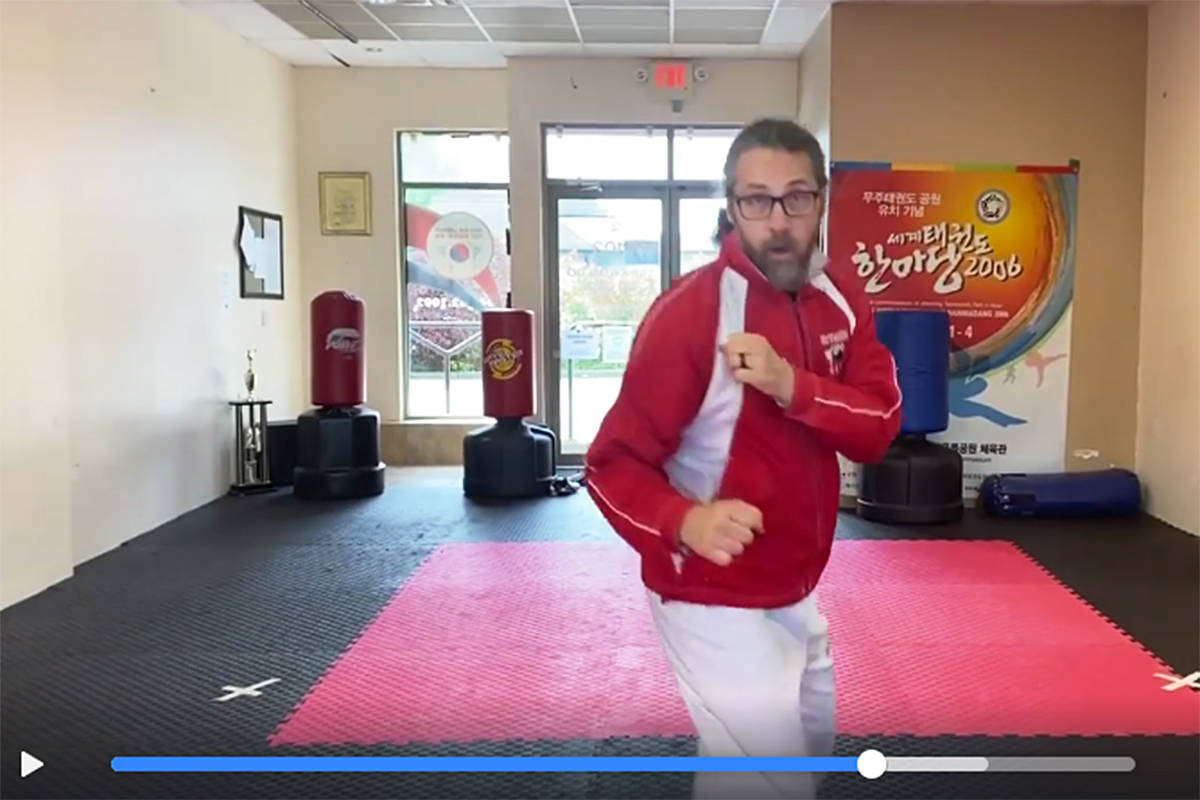 Woo Kim Langley Taekwondo School master Gary McLaughlin was one of several members who took part in a no-contact virtual sparring video posted online. (Video clip courtesy Woo Kim)