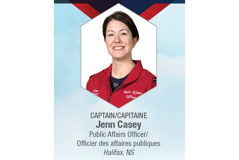 Captain Jenn Casey, from Halifax, NS, has been identified as the fatality in the Snowbirds crash in Kamloops. Photo via http://www.rcaf-arc.forces.gc.ca/