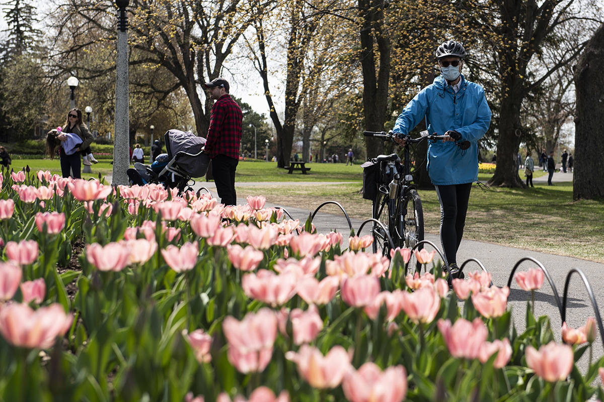 People look at tulips at Commissioners Park in Ottawa, during the Canadian Tulip Festival, in the midst of the COVID-19 pandemic on Sunday, May 17, 2020. THE CANADIAN PRESS/Justin Tang