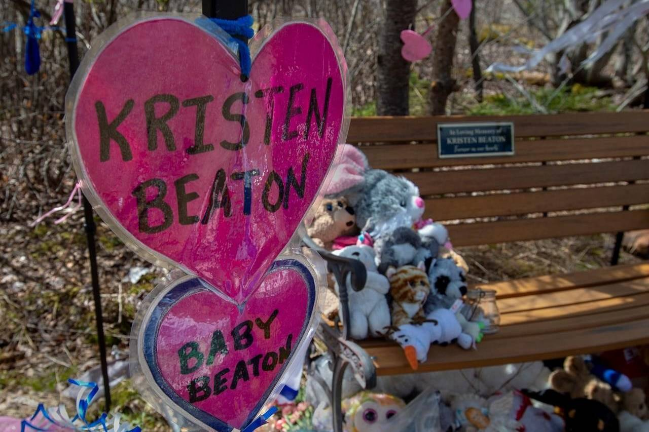 A shrine to Kristen Beaton and her unborn child is seen in Debert, N.S. on Thursday, May 14, 2020. It was one month ago that 22 people were killed after a man went on a murder rampage in Portapique and several other Nova Scotia communities. THE CANADIAN PRESS/Andrew Vaughan