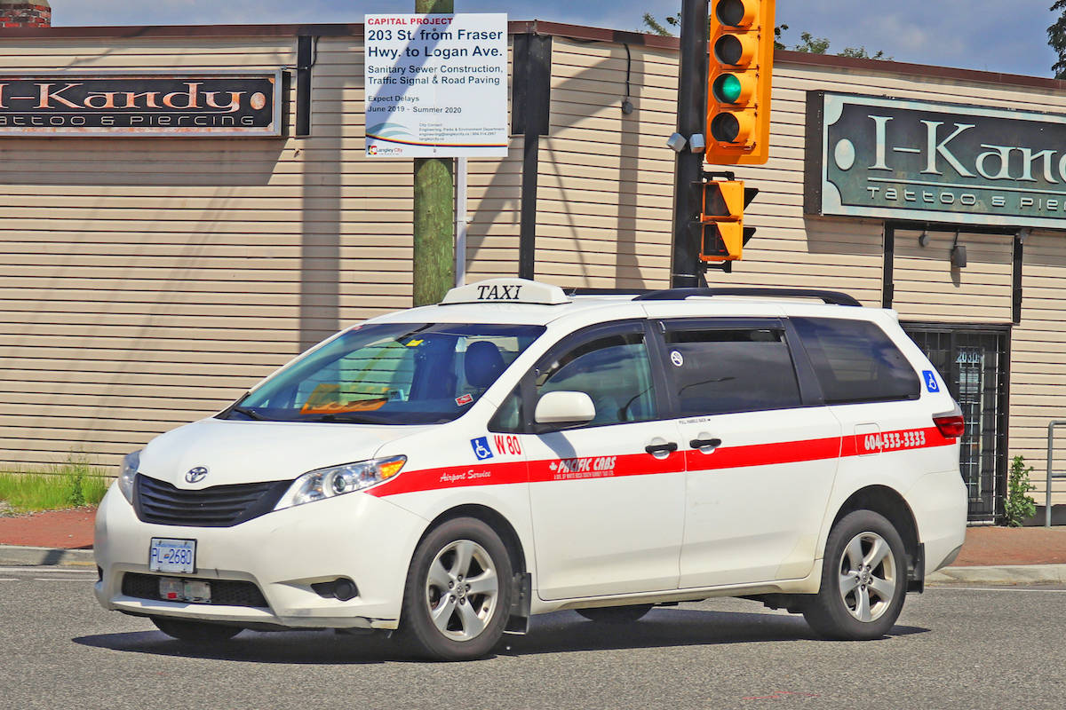 A Pacific Cab seen downtown Langley Tuesday, May 19. It's one of 10 that can be found around the whole of Langley, at any given time during the pandemic. (Sarah Grochowski photo)