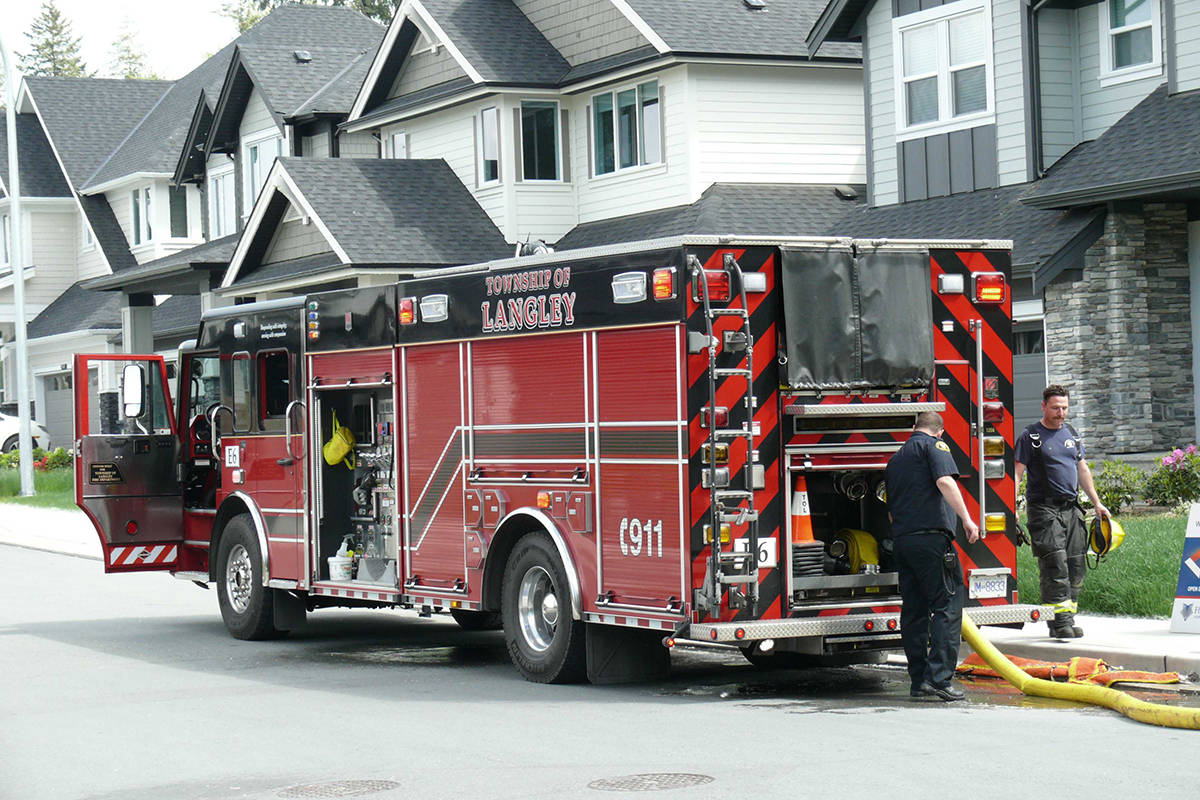 Fire crews on scene near 77a Ave and 204 Street. (Dan Ferguson/Langley Advance Times)