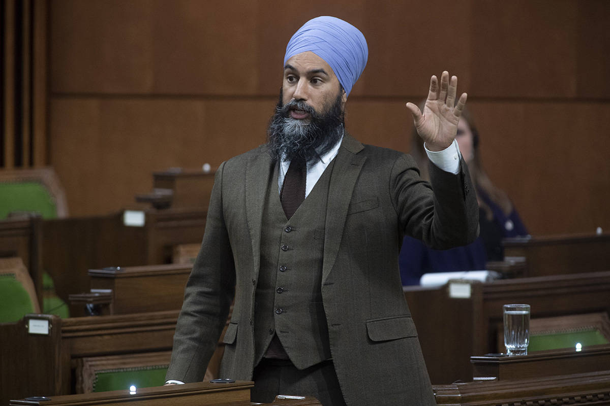 NDP Leader Jagmeet Singh rises during a sitting of the House of Commons Wednesday April 29, 2020 in Ottawa. THE CANADIAN PRESS/Adrian Wyld