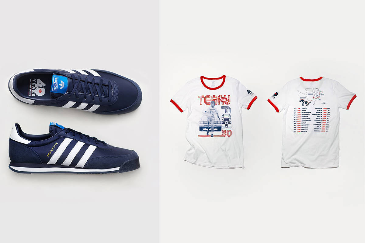 The Terry Fox collection, consisting of running shoes and a T-shirt, sold out as soon as they were available on the Adidas website Wednesday, May 20, 2020, morning. All proceeds will go to the Terry Fox Foundation. (Adidas Canada)