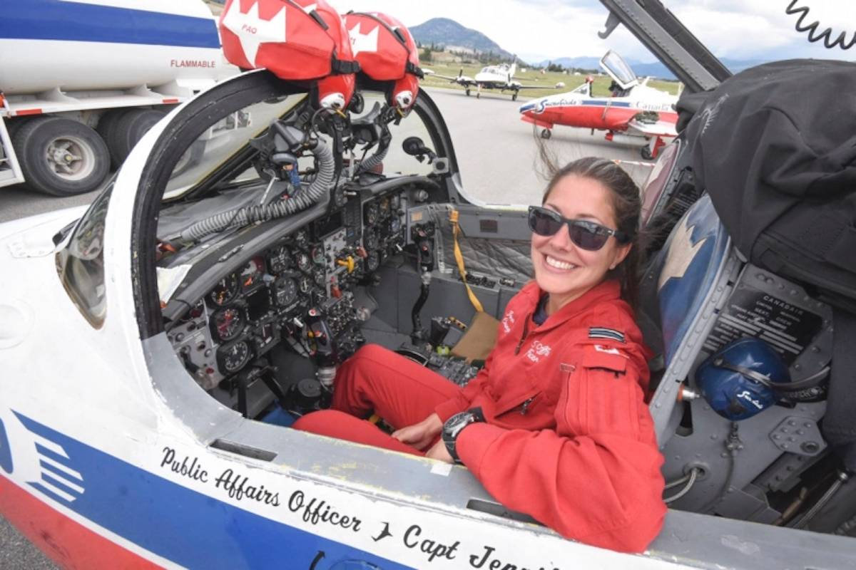Capt. Jennifer Casey, the Snowbirds' public affairs officer, was killed in the May 17, 2020, crash of a squadron jet in Kamloops. This photo of her was taken in the Okanagan during a July 2019 visit by the team. (Mark Brett/Black Press Media)