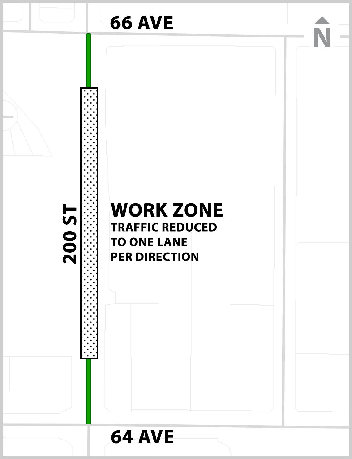 Starting May 19, 2020 north- and southbound lane closures will be in effect on 200 Street between 64 Avenue and 66 Avenue until early July as crews work to upgrade a culvert. (Township of Langley/Special to Langley Advance Times)