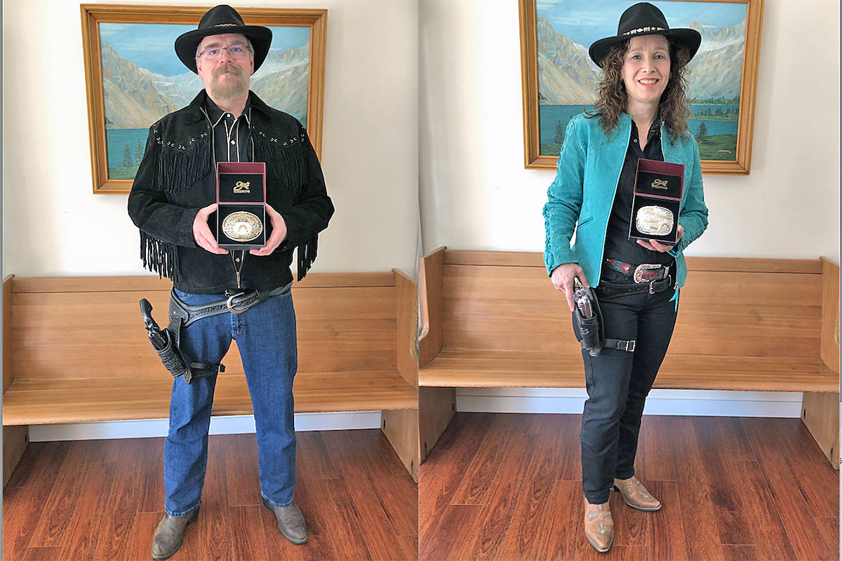 Walnut Grove's Shawn and Paula Murphy won won both the Men's Top Gun and Women's Top Gun awards at the World Fast Draw Association Buckle awards and ratings. (photo courtesy Shawn and Paula Murphy )