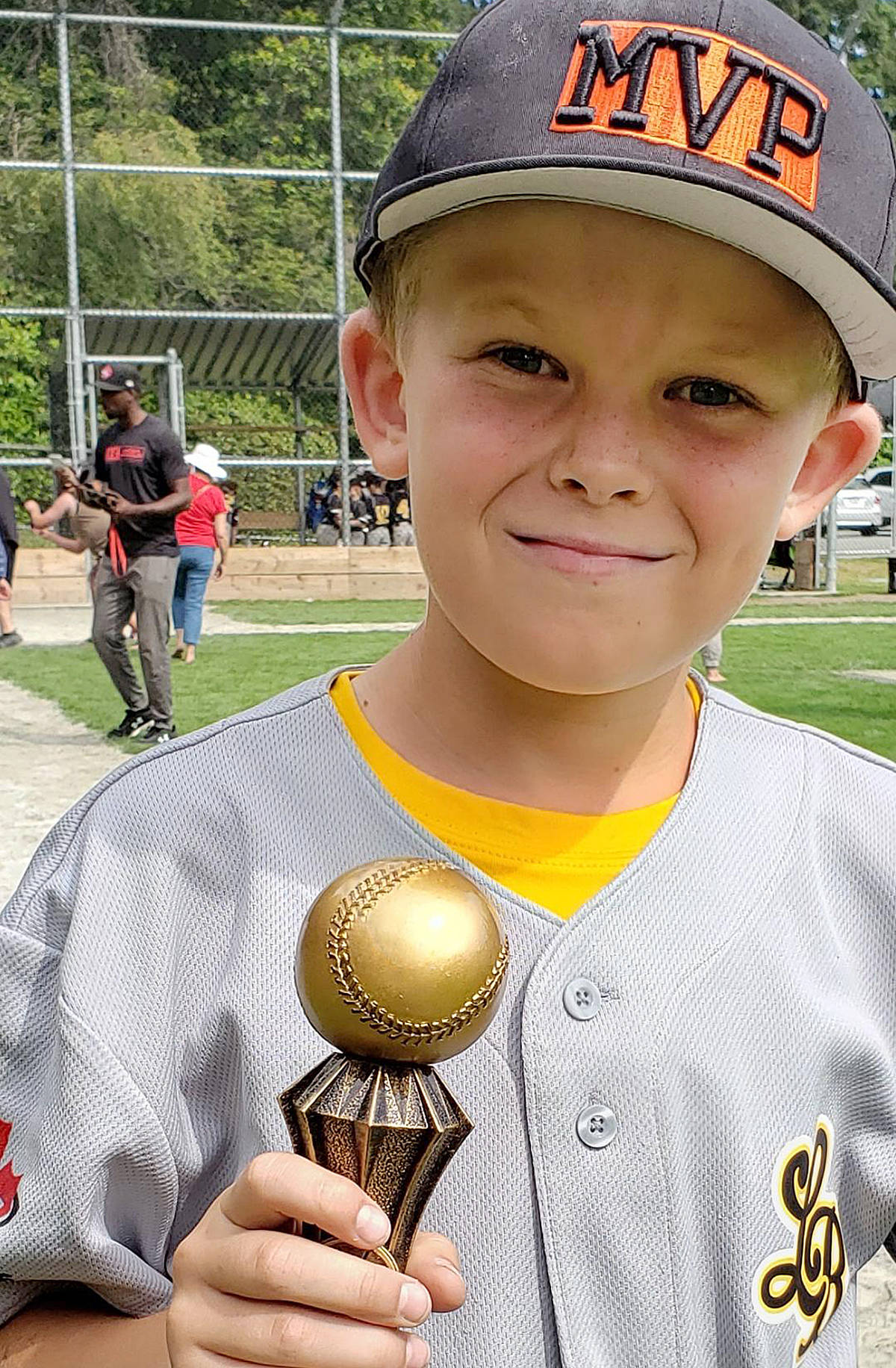 Daniel Larsen, 10, wants to get back on the ball diamond – soon. (Special to the Langley Advance Times)