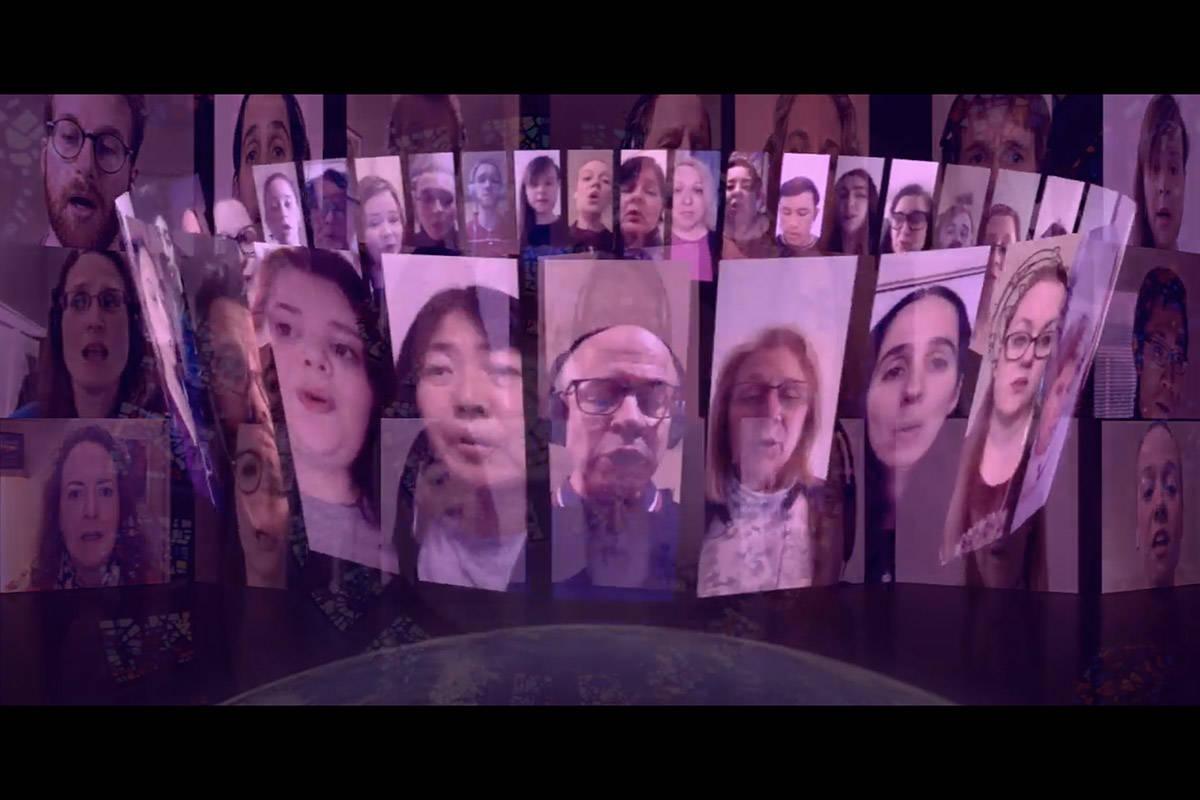 A total of 48 singers took part in Belle Voci's recording of 'Ubi Caritas.' (YouTube)