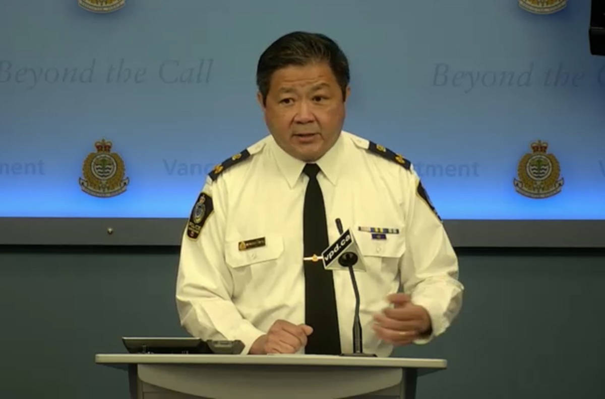 Howard Chow, the department's deputy chief constable for operations, speak to reporters on May 22, 2020. (VPD screenshot)