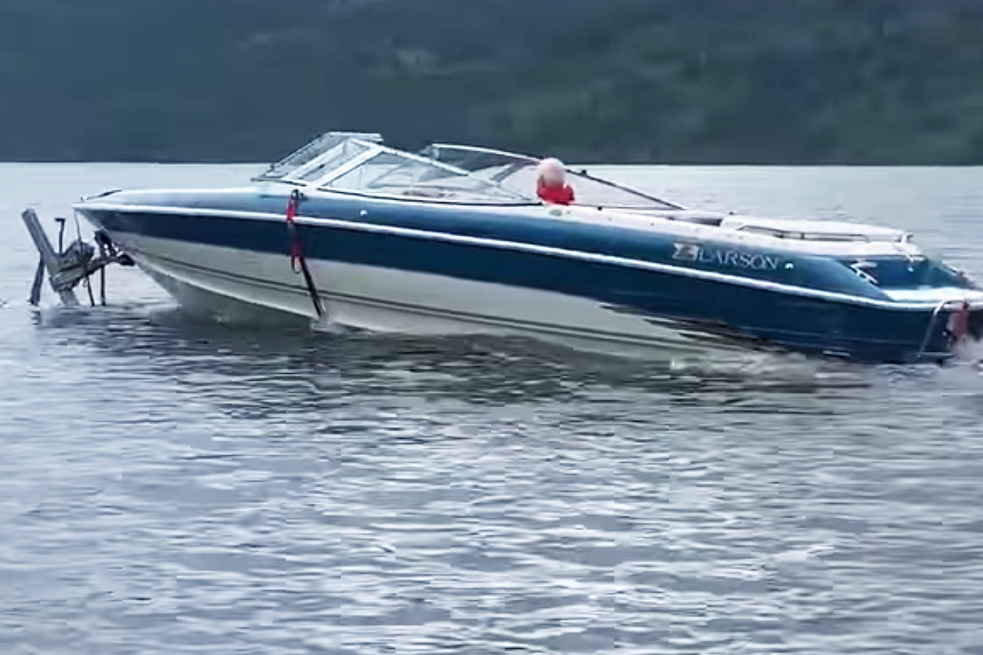Rob Winder took a video of some unconventional boat travel as this boater appears to have taken to the water with his trailer still attached. (Rob Winder/Facebook)