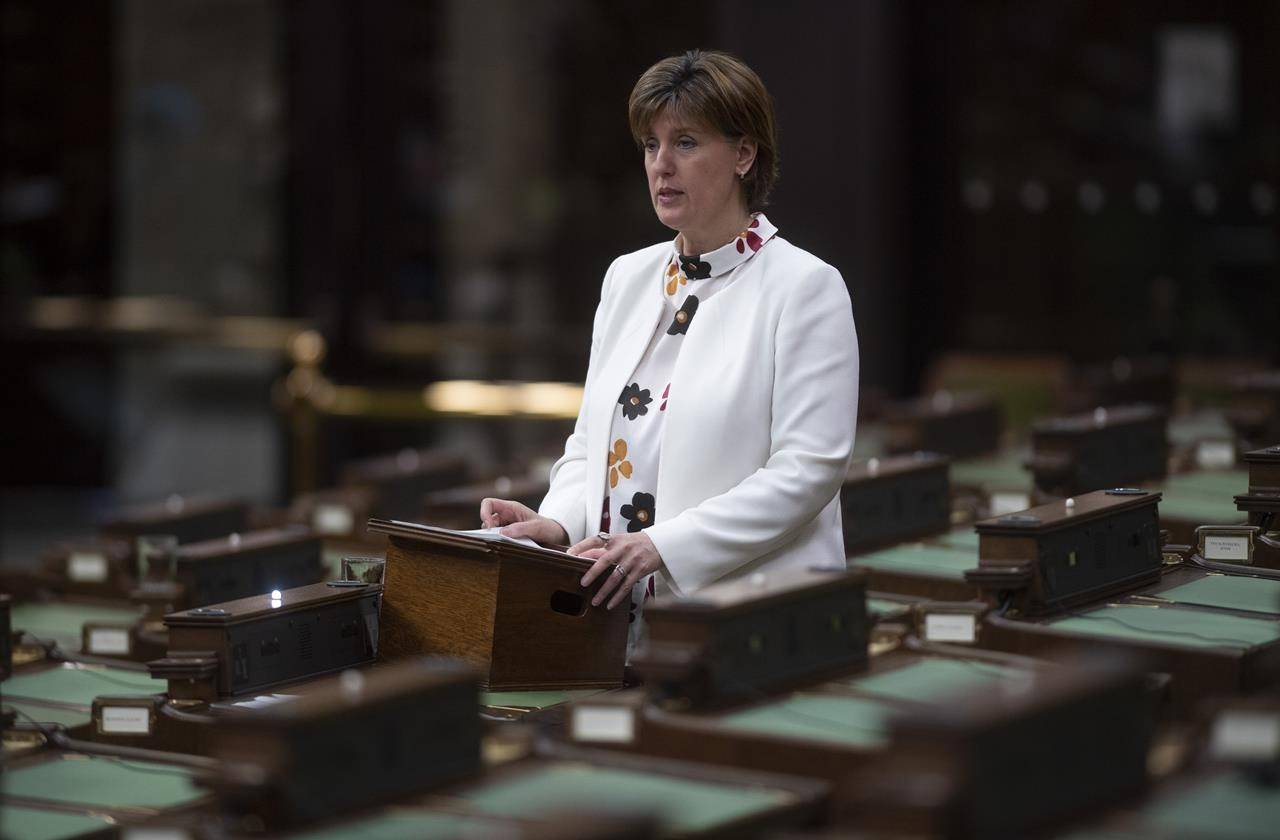 Minister of Agriculture and Agri-Food Minister Marie-Claude Bibeau rises to introduce an act to amend the Canadian Dairy Commission Act in the House of Commons in Ottawa on May 13, 2020. THE CANADIAN PRESS/Adrian Wyld