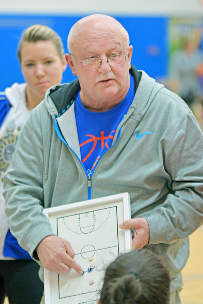 Retired Brookswood Bobcats coach Neil Brown, seen here in action, led 10 BC provincial championship winning teams during his career, among other accomplishments that saw him inducted into the Basketball BC Hall of Fame this year (courtesy Trina Daryl)