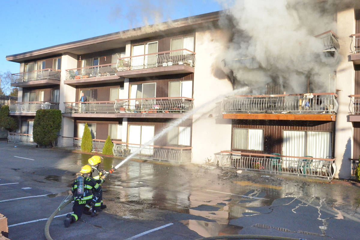 There are tentative plans to have the fire-damaged Villa Fontana apartment building in Langley City replaced with a bigger structure, a spokesperson for the owners said. (Langley Advance Times file)