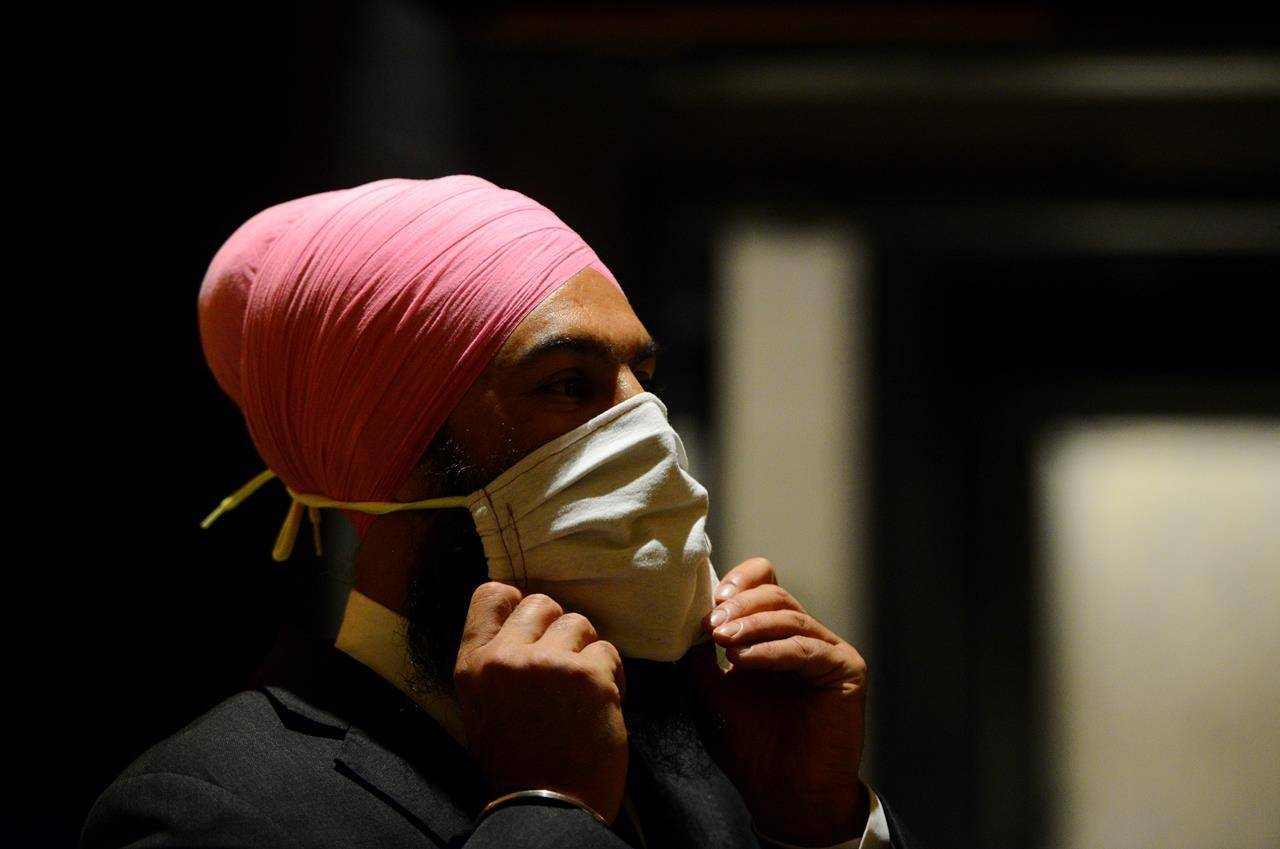 NDP leader Jagmeet Singh arrives to hold a press conference on Parliament Hill amid the COVID-19 pandemic in Ottawa on Monday May 25, 2020. THE CANADIAN PRESS/Sean Kilpatrick