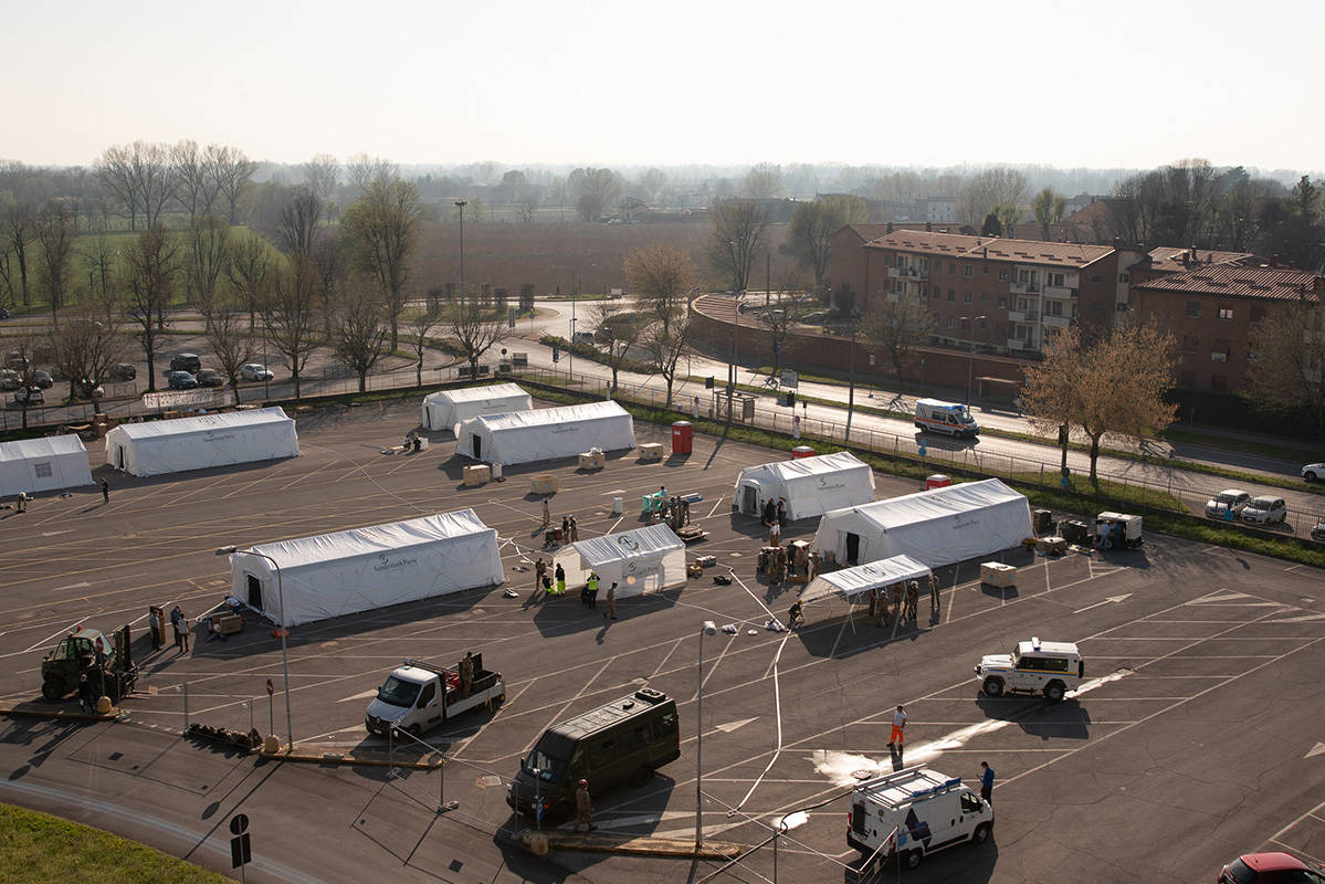 Samaritan's Purse health emergency field hospital set up in the Cremona Hospital parking lot. (Courtesy Samaritan's Purse photo)