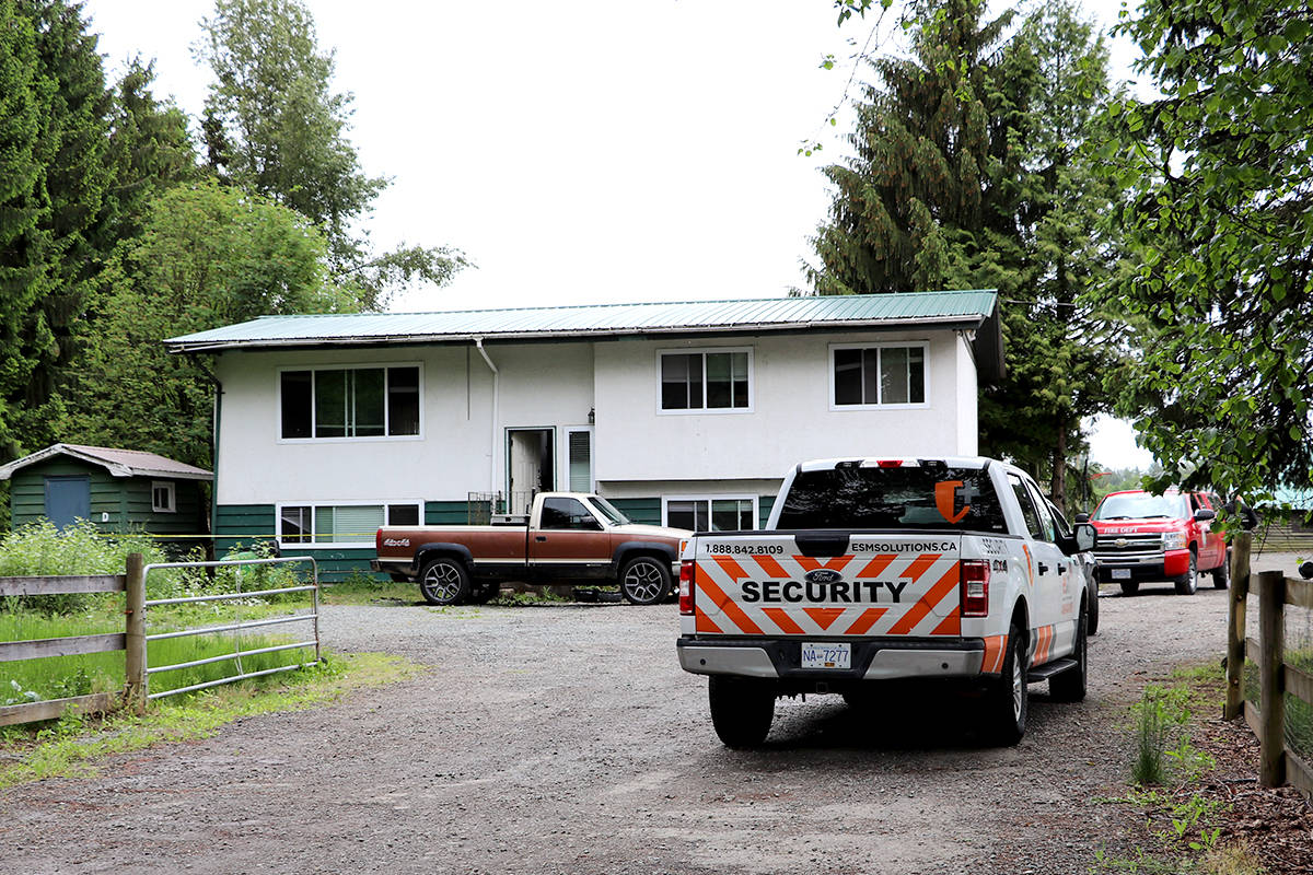 Township investigators were at residential property in Aldergrove Tuesday, May 25, 2020 after a fire broke out outside a vacant home yesterday night. (Joti Grewal/Langley Advance Times)