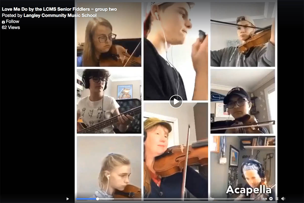 Langley Community Music School Fiddlers perform songs such as The Beatle's Love Me Do for year end concert online. (Screenshot)