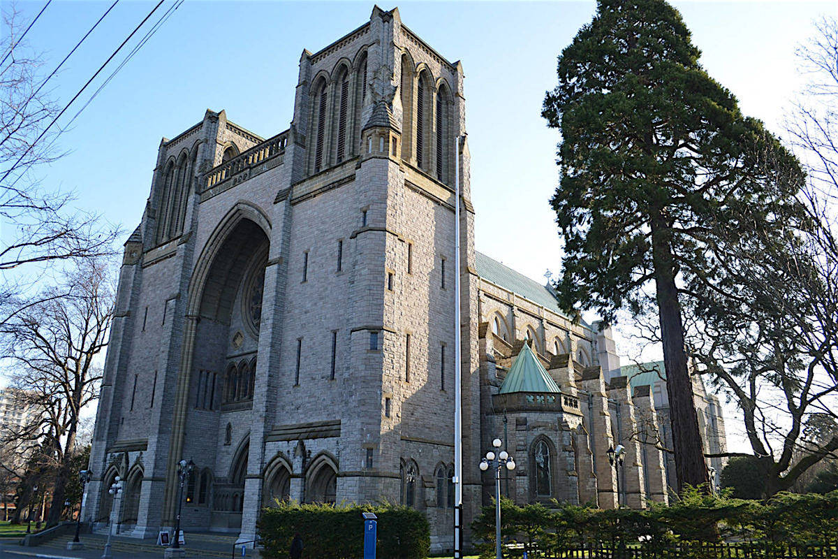 Christ Church Cathedral in Victoria and other religious venues in B.C. have received permission to resume limited in-person ceremonies. (Christ Church Cathedral)