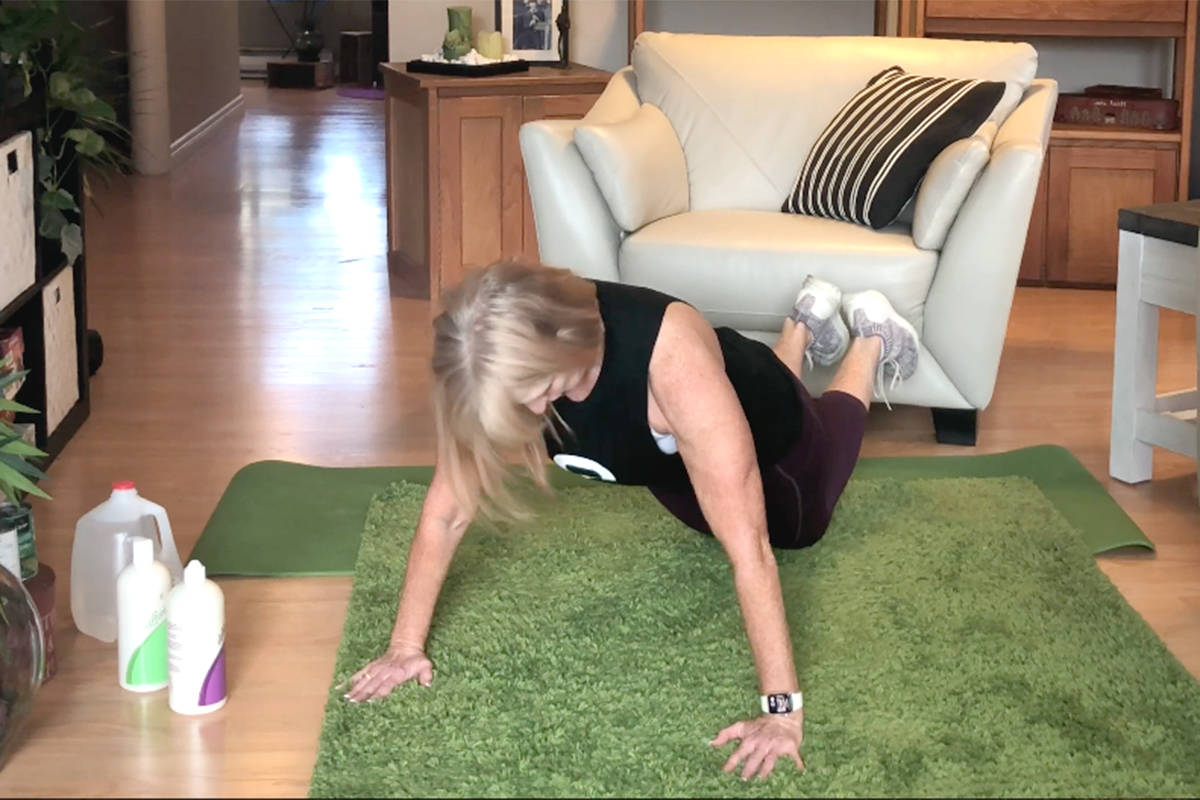 Marion Brand, owner of Brand Fitness in Langley, focuses on the back and chest in this week's edition of Workout Wednesday hosted by Langley Advance Times. (Brand Fitness video screen shot)