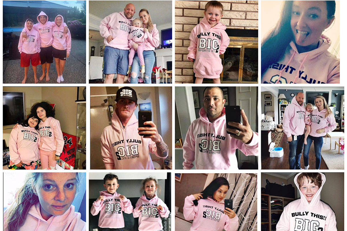 People who have purchased the Bully This! hoodies are showing off their support on social media. (Crone family photo/Special to the Langley Advance Times)