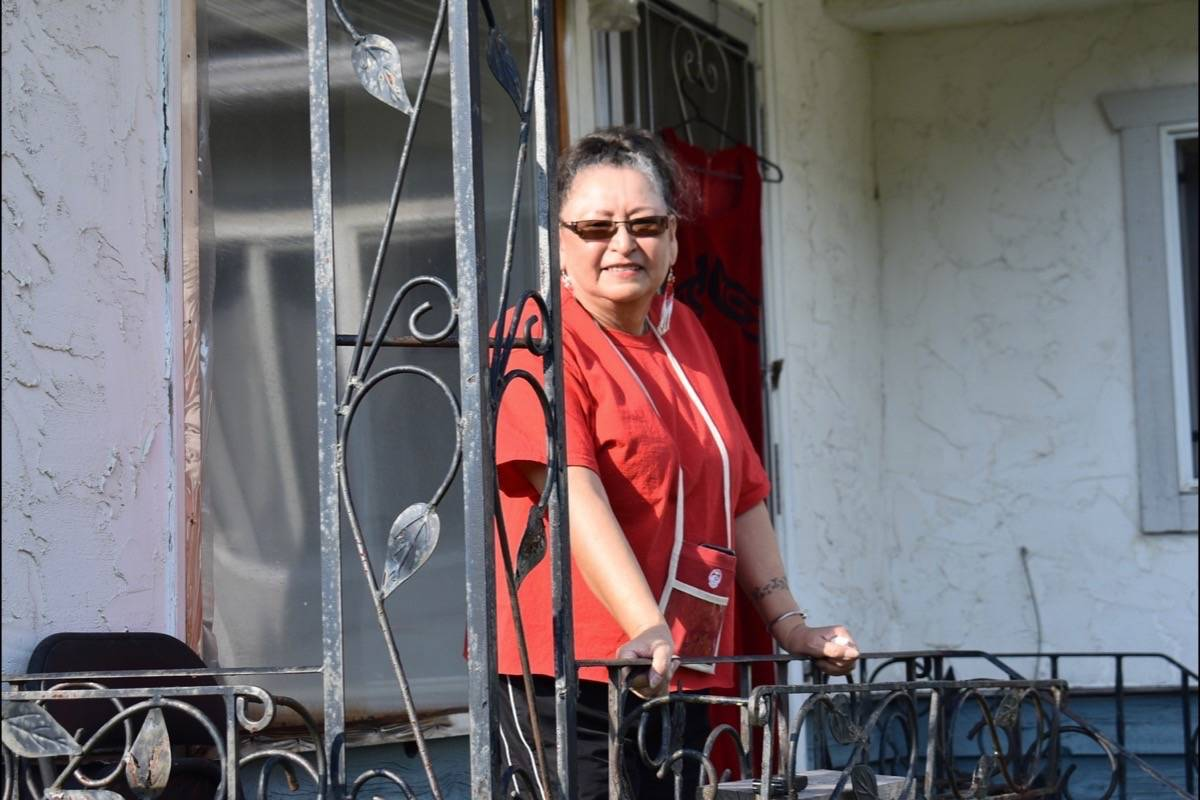 Linda Kay Peters at her home in Hope, wearing red on the National Day of Awareness for Missing and Murdered Indigenous Women and Girls. Emelie Peacock/Hope Standard