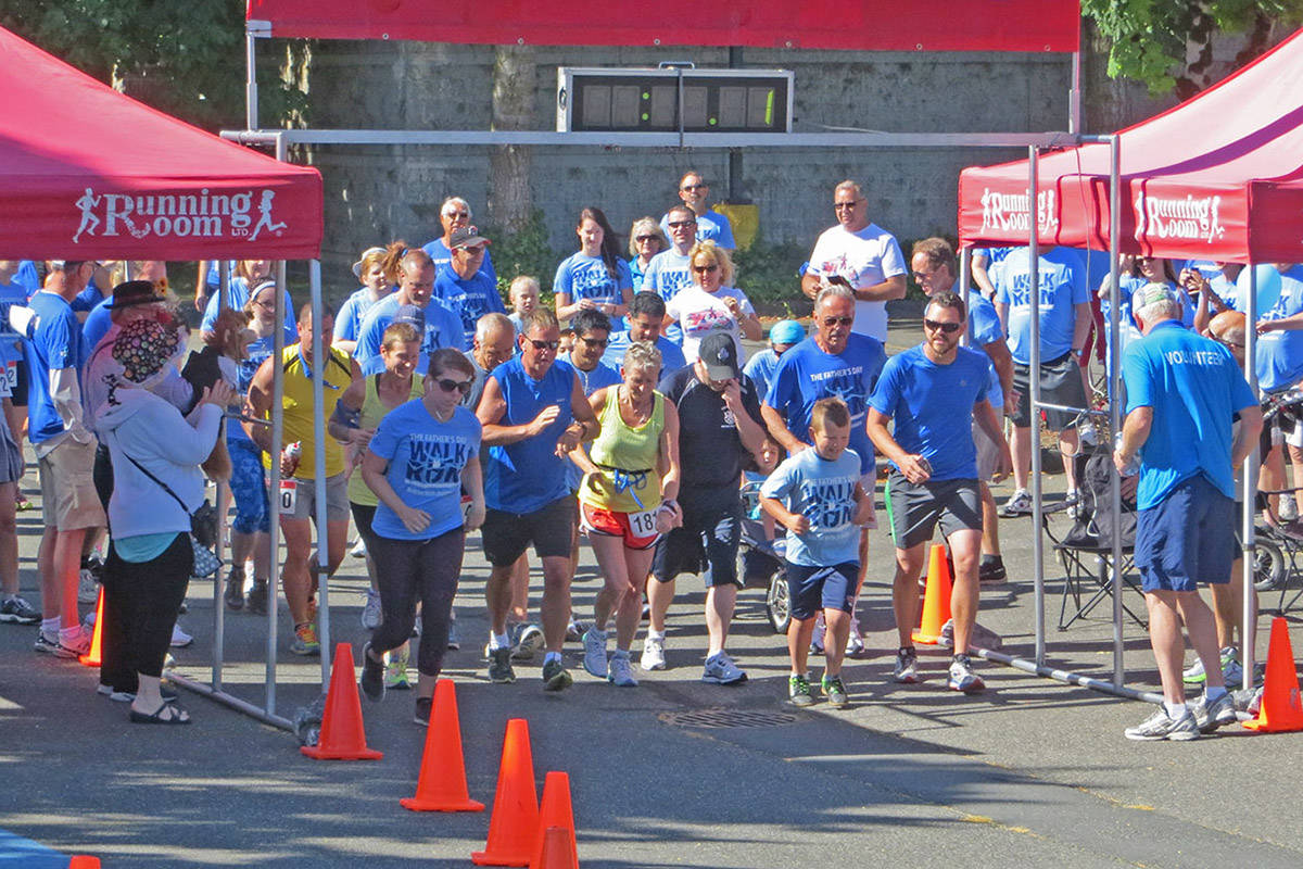 People take part in the Father's Day Walk Run for Prostate Cancer Foundation BC in Chilliwack on June 21, 2015. This year's event will be a virtual one due to the COVID-19 pandemic. (Progress file)