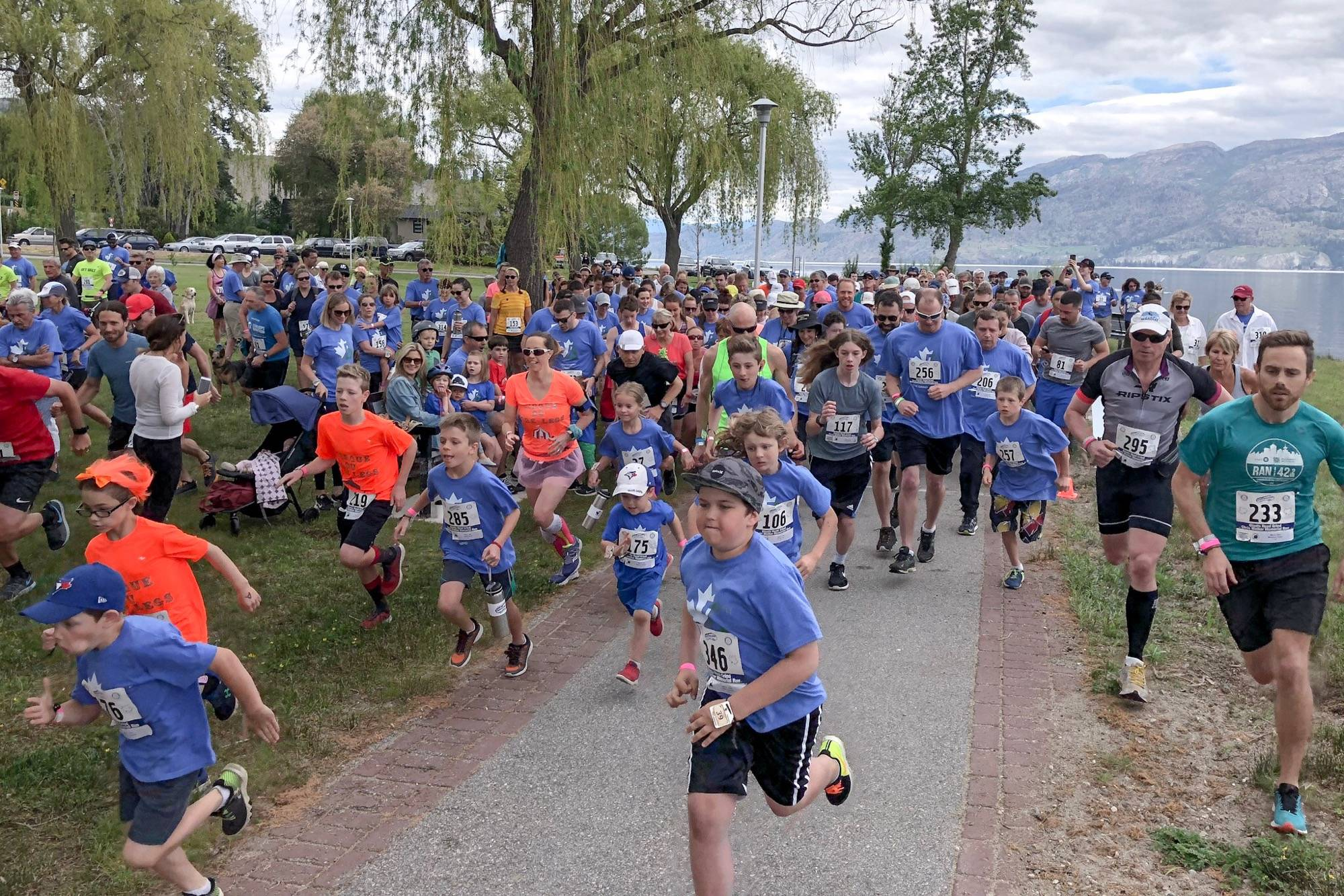 Runners compete in the 2018 Giant's Head Grind, an uphill race held each year in Summerland. (Photo courtesy of Kim Lawton)