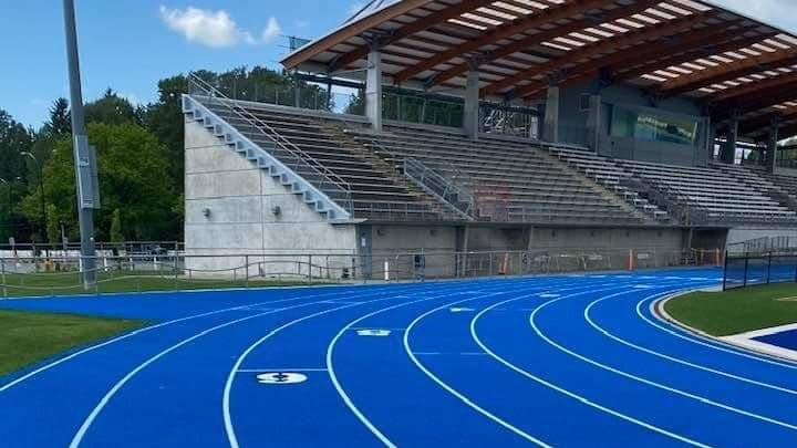 Facilities at McLeod Athletic Park have been undergoing nearly $5 million in upgrades since last summer. The track and field facility is not yet open to the public. (BCHS Track and Field/Special to Langley Advance Times)