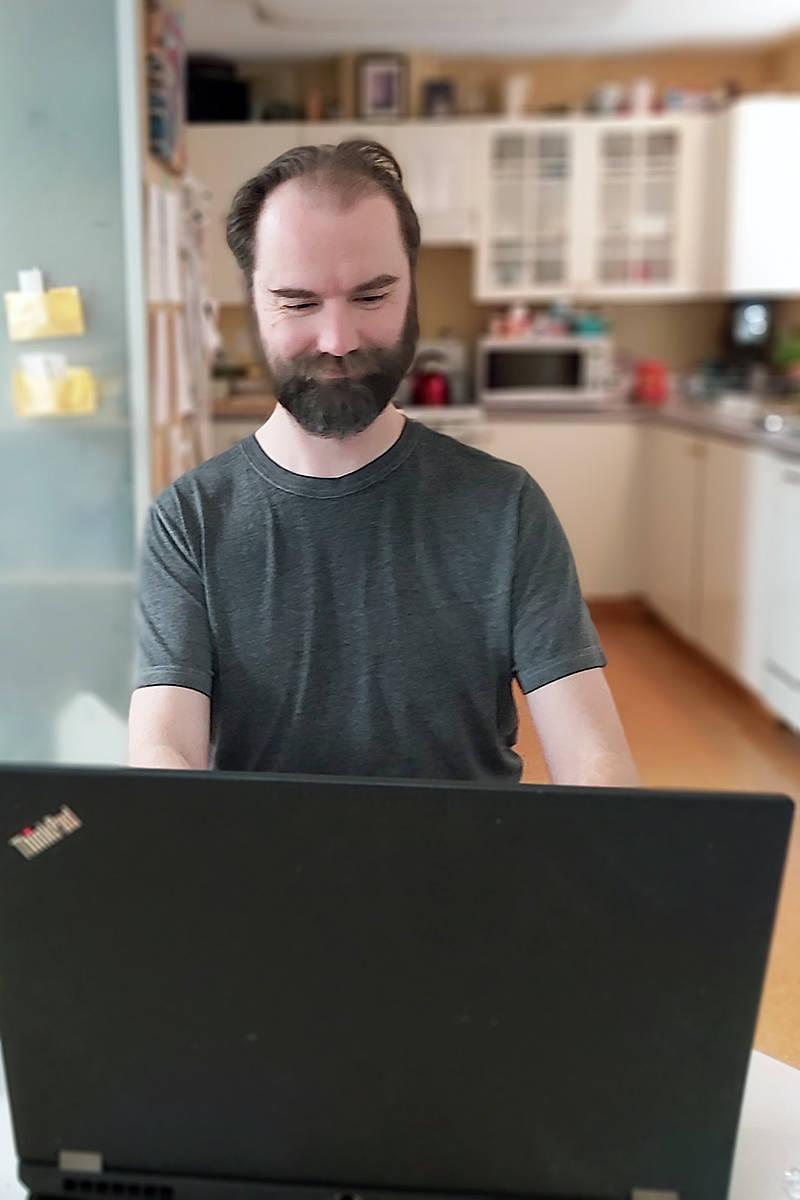 Langley resident Daniel Lindenberger, founder of Banging Rocks VR, is communications coordinator for an all-volunteer international effort to build a database for COVID-19 researchers (Ellison Lindenberger/special to Langley Advance Times)