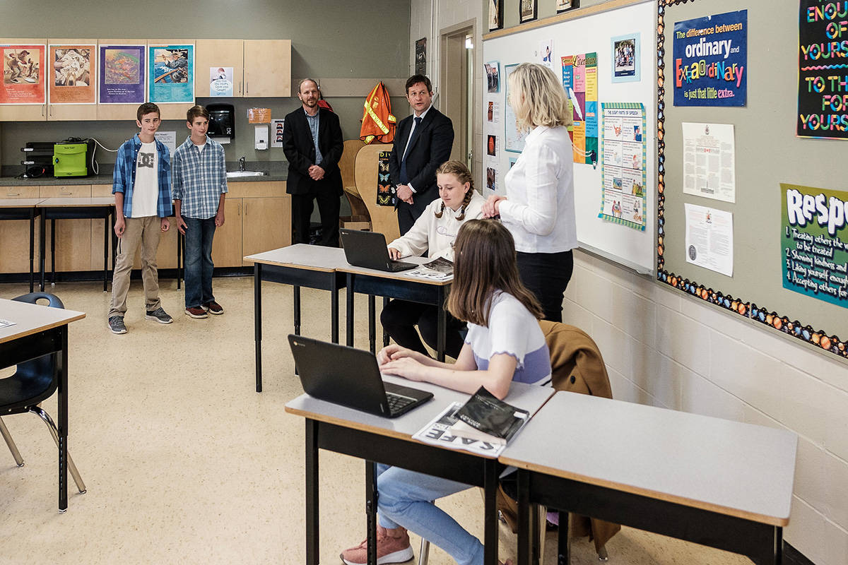 B.C. Education Minister Rob Fleming tours a Greater Victoria school on June 2, 2020, as classes restart amid the pandemic. (Don Craig/Government of B.C.)