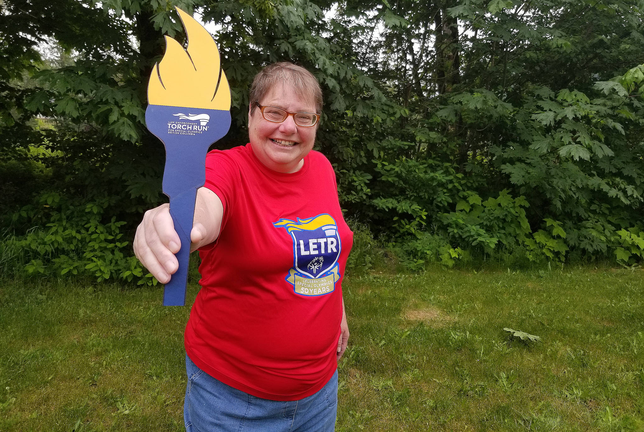 Betty Coleman is passing the torch virtually this year as the annual Law Enforcement Torch Run raises funds for Special Olympians. (Eric J. Welsh/ The Progress)