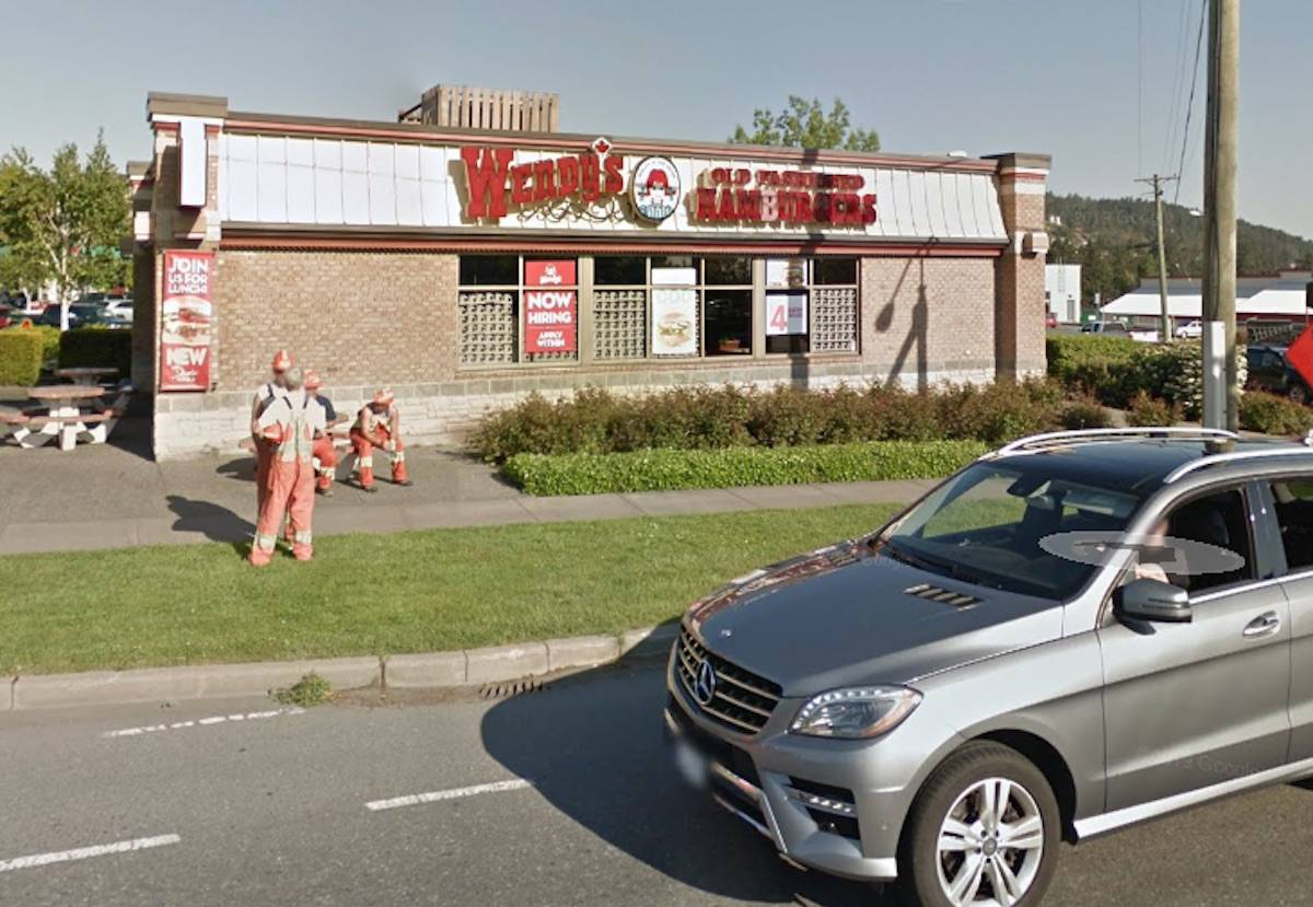 The West Shore RCMP is looking for a man who allegedly damaged a Wendy's drive-thru in Colwood after he didn't get mustard on his burger. (Google Maps photo)