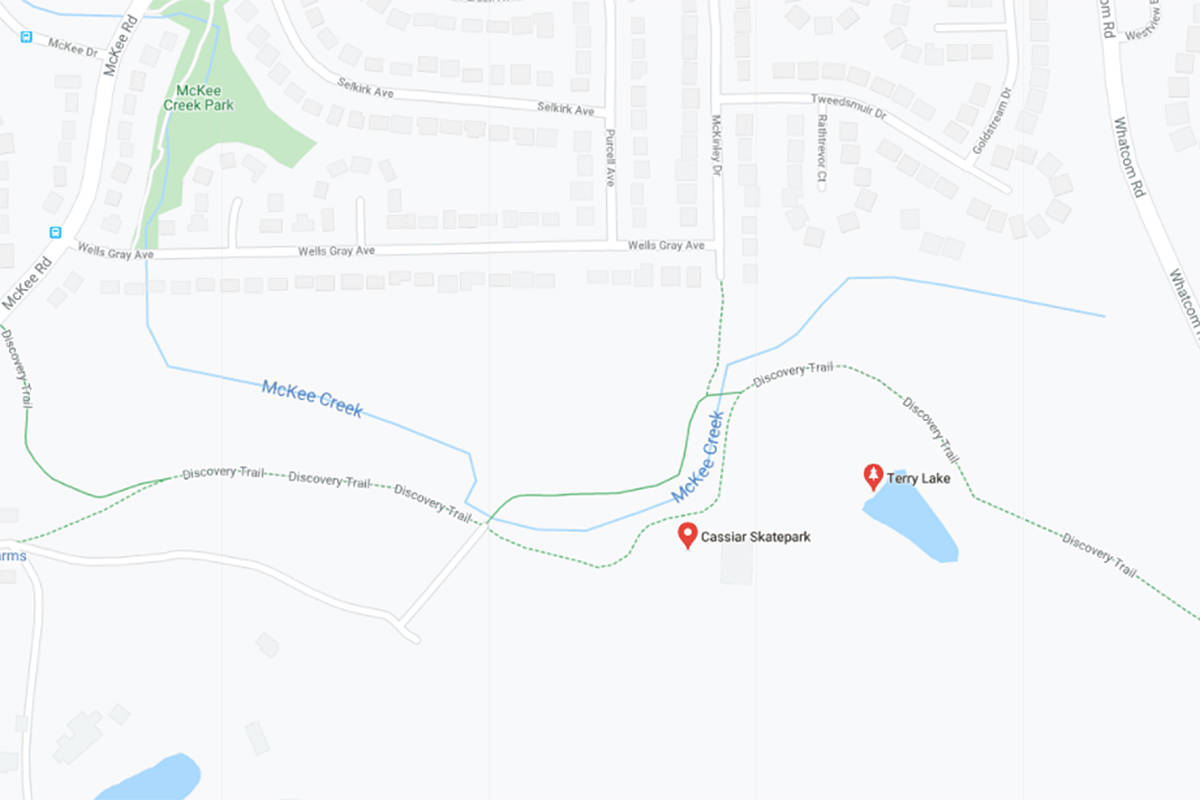 A dog seen with duct tape around its muzzle has been spotted on Discovery Trail in Abbotsford, near Terry Lake. (Google Maps)