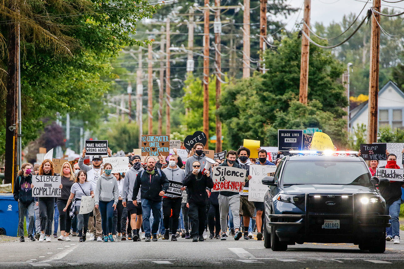 Justice March for George Floyd in Monroe Thursday morning on June 4, 2020. (Kevin Clark / The Herald)