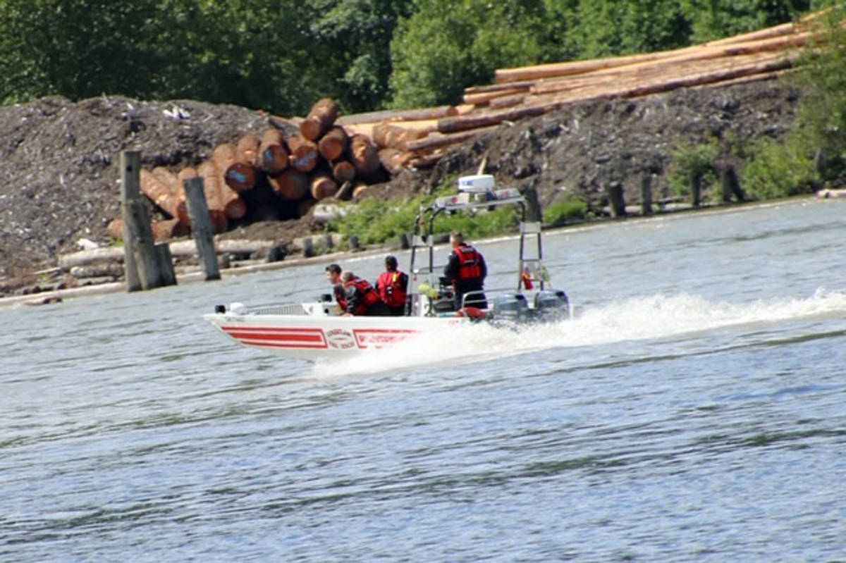 Police boats were called in to search the Fraser River after a report that a plane had crashed where the river runs between Langley and Maple Ridge (Shane MacKichan/special to Langley Advance Times)