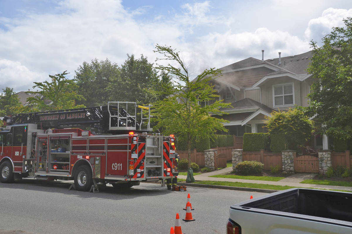 Township of Langley firefighters were called to the 20400 block of 66th Ave for a townhouse fire (Curtis Kreklau/South Fraser News Services)