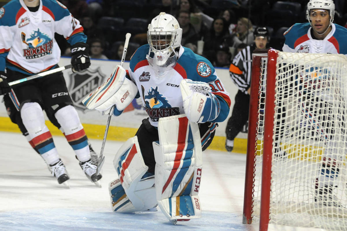 Michael Herringer played between the pipes for the Kelowna Rockets from 2014 to 2017. (Warren Henderson photo)