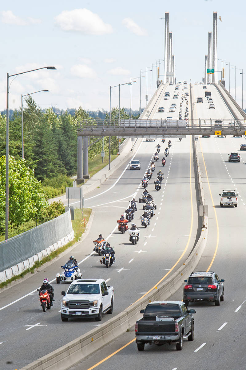 Riders headed over the Golden Ears Bridge at the beginning of the annual ride for Doug on Sunday, June 7 (Devon Lutz/special to Langley Advance Times)