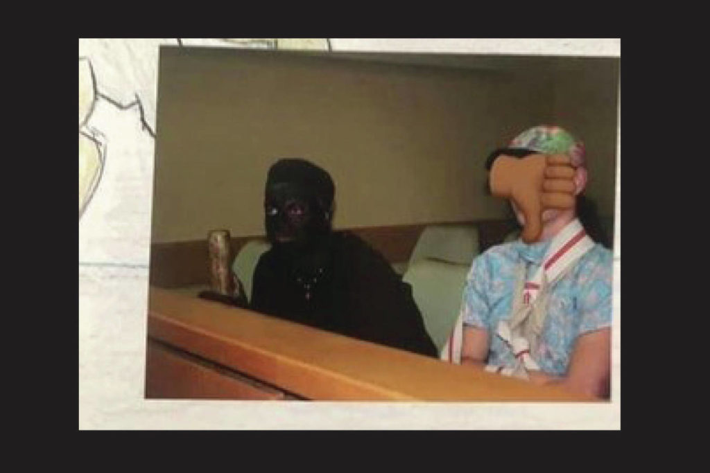 The principal of GW Graham says the student in blackface (left) wore it as part of a mock trial, and the picture found its way into the school's 2017 yearbook. (Instagram photo)