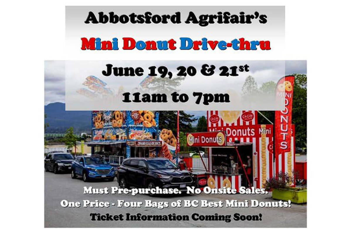 A mini donut drive-thru will be offered by Abbotsford Agrifair organizers later this month. (Facebook photo)