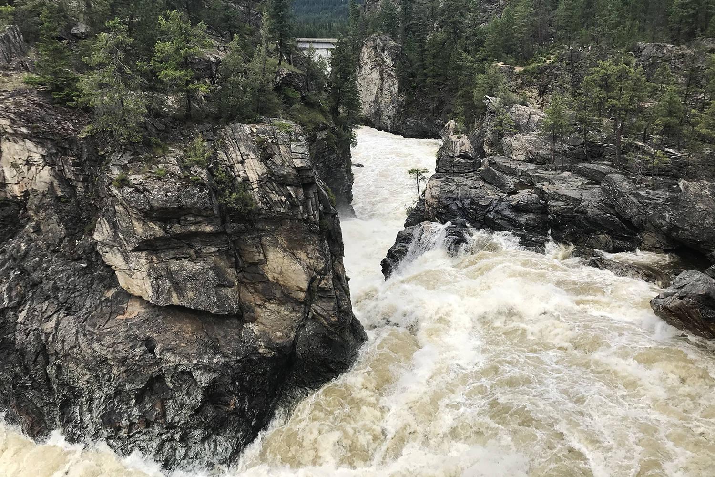 Lower section of Cascade Falls, taken at near-peak river level for 2020. (Jensen Edwards/Grand Forks Gazette)